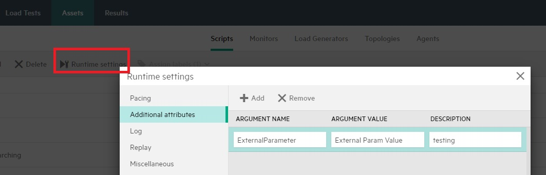 StormRunner - Runtime Settings - Additional attributes